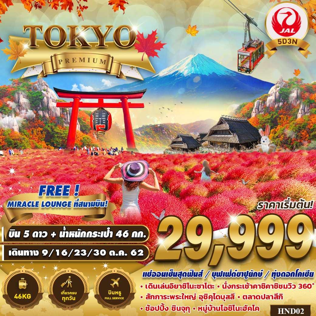 ทัวร์ญี่ปุ่น โตเกียว พรีเมี่ยม เที่ยวสุดคุ้ม ไม่มีอิสระฟรีเดย 5วัน 3คืน โดยสายการบิน JAPAN AIRLINE (JL)
